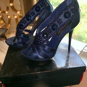 Steve Madden Luxe- Satin blue heel with rhinestone